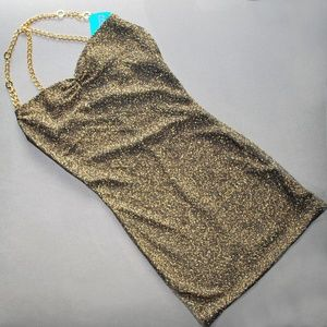 Sparkly Gold Dress with Chain Straps